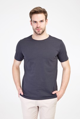 Erkek Giyim - KOYU ANTRASİT M Beden Bisiklet Yaka Slim Fit Tişört