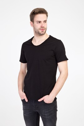 Erkek Giyim - SİYAH L Beden V Yaka Slim Fit Tişört