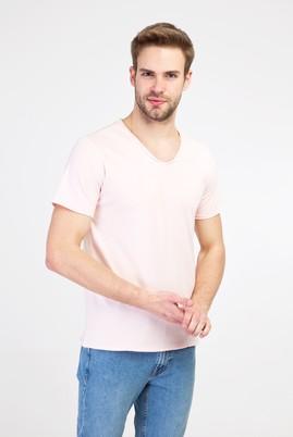 Erkek Giyim - TOZ PEMBE M Beden V Yaka Slim Fit Tişört