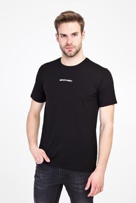 Erkek Giyim - SİYAH L Beden Bisiklet Yaka Slim Fit Baskılı Tişört