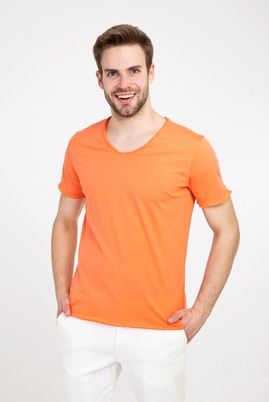 Erkek Giyim - AÇIK TURUNCU M Beden V Yaka Slim Fit Tişört