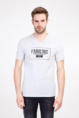 Erkek Giyim - AÇIK GRİ XL Beden V Yaka Slim Fit Baskılı Tişört