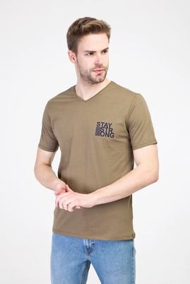 Erkek Giyim - ORTA HAKİ L Beden V Yaka Slim Fit Baskılı Tişört