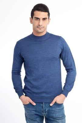 Erkek Giyim - Mavi L Beden Bato Yaka Triko Kazak