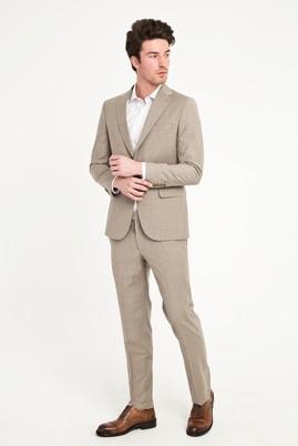 Erkek Giyim - ORTA BEJ 48 Beden Klasik Yünlü Takım Elbise