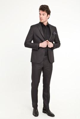 Erkek Giyim - ANTRASİT 48 Beden Slim Fit Desenli Takım Elbise