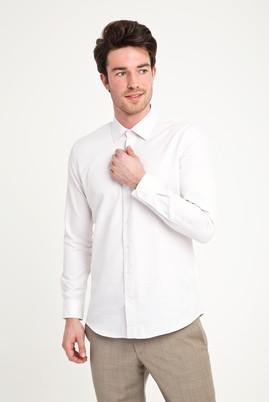 Erkek Giyim - AÇIK KAHVE S Beden Uzun Kol Slim Fit Desenli Gömlek