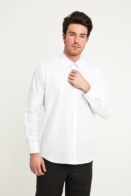 Erkek Giyim - BEYAZ M Beden Uzun Kol Klasik Desenli Gömlek