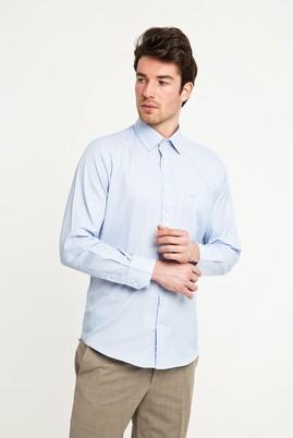 Erkek Giyim - AÇIK MAVİ 4X Beden Uzun Kol Klasik Desenli Gömlek