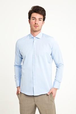 Erkek Giyim - MAVİ XS Beden Uzun Kol Slim Fit Desenli Gömlek