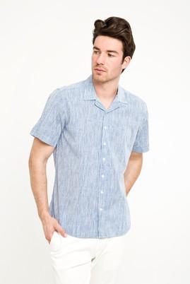 Erkek Giyim - ORTA LACİVERT 3X Beden Kısa Kol Klasik Baskılı Gömlek