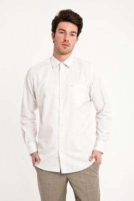 Erkek Giyim - AÇIK KAHVE 4X Beden Uzun Kol Klasik Desenli Gömlek