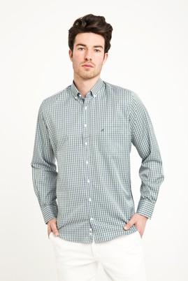 Erkek Giyim - ÇİMEN YEŞİLİ XL Beden Uzun Kol Klasik Ekose Gömlek
