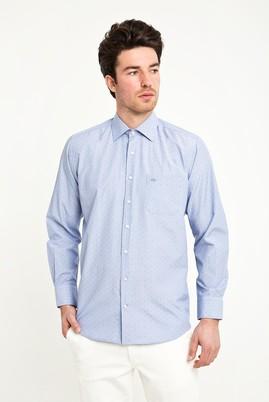 Erkek Giyim - KOYU MAVİ 4X Beden Uzun Kol Spor Desenli Gömlek