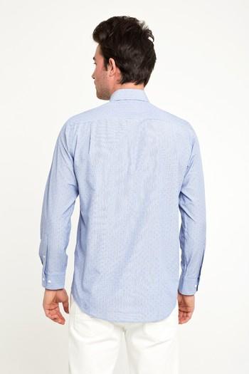 Erkek Giyim - Uzun Kol Regular Fit Spor Desenli Gömlek