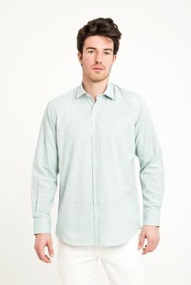 Erkek Giyim - FISTIK YEŞİLİ XL Beden Uzun Kol Relax Fit Desenli Gömlek