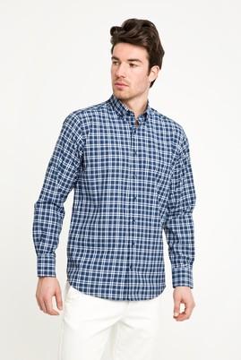 Erkek Giyim - ORTA LACİVERT L Beden Uzun Kol Regular Fit Ekose Spor Gömlek