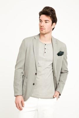 Erkek Giyim - Açık Gri 46 Beden Desenli Spor Yıkamalı Ceket