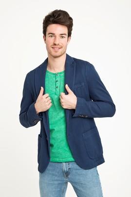 Erkek Giyim - Lacivert 54 Beden Desenli Spor Yıkamalı Ceket