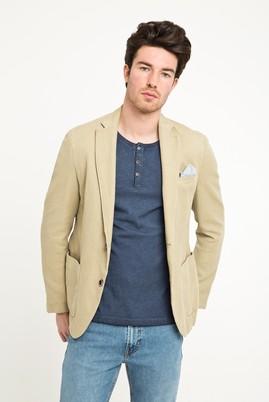 Erkek Giyim - Bej 48 Beden Desenli Spor Yıkamalı Ceket