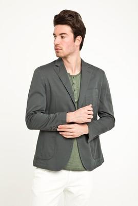 Erkek Giyim - Petrol 48 Beden Yıkamalı Spor Ceket