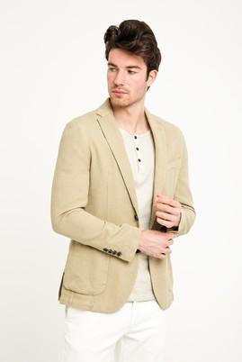 Erkek Giyim - Bej 52 Beden Desenli Spor Yıkamalı Ceket