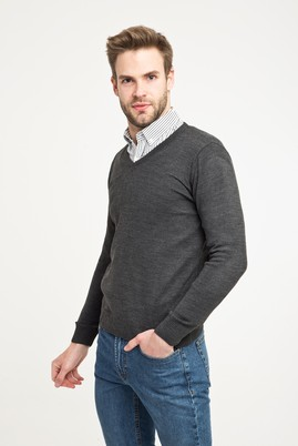 Erkek Giyim - Antrasit XL Beden V Yaka Regular Fit Triko Kazak