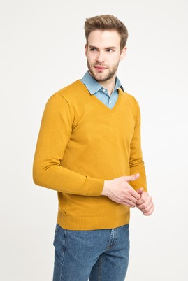 Erkek Giyim - Açık Kahve - Camel XL Beden V Yaka Regular Fit Triko Kazak