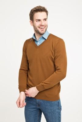 Erkek Giyim - Açık Kahve - Camel 3X Beden V Yaka Regular Fit Triko Kazak