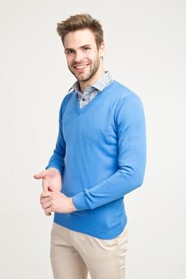 Erkek Giyim - MAVİ XL Beden V Yaka Regular Fit Triko Kazak