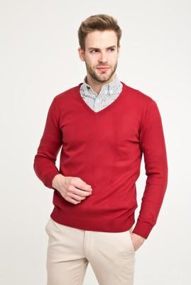 Erkek Giyim - Kırmızı M Beden V Yaka Regular Fit Triko Kazak