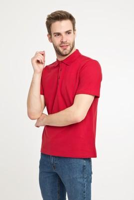 Erkek Giyim - Kırmızı S Beden Polo Yaka Slim Fit Tişört