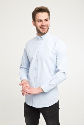 Erkek Giyim - Açık Mavi XXL Beden Uzun Kol Regular Fit Desenli Gömlek