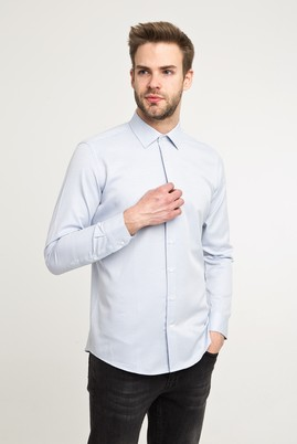 Erkek Giyim - Lacivert XS Beden Uzun Kol Desenli Gömlek