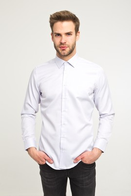Erkek Giyim - Lila M Beden Uzun Kol Desenli Gömlek