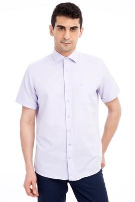 Erkek Giyim - LİLA 4X Beden Kısa Kol Desenli Klasik Gömlek