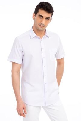 Erkek Giyim - LİLA S Beden Kısa Kol Desenli Klasik Gömlek