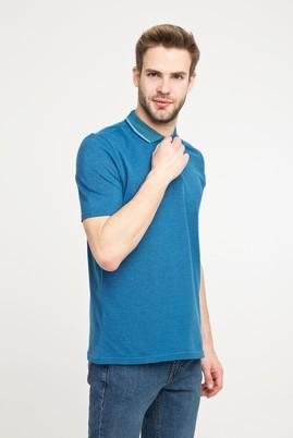 Erkek Giyim - MAVİ L Beden Polo Yaka Desenli Slim Fit Tişört
