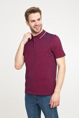 Erkek Giyim - ŞARAP BORDO L Beden Polo Yaka Desenli Slim Fit Tişört
