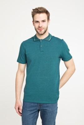Erkek Giyim - KOYU YEŞİL LOT1 3X Beden Polo Yaka Desenli Slim Fit Tişört