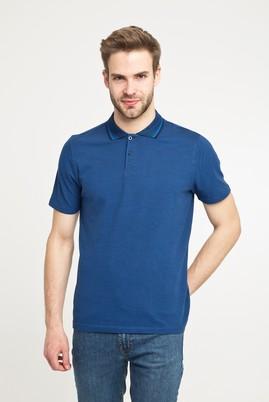Erkek Giyim - AÇIK LACİVERT M Beden Polo Yaka Desenli Slim Fit Tişört