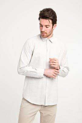 Erkek Giyim - ORTA BEJ L Beden Uzun Kol Relax Fit Desenli Gömlek
