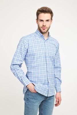 Erkek Giyim - GÖK MAVİSİ 3X Beden Uzun Kol Ekose Spor Gömlek