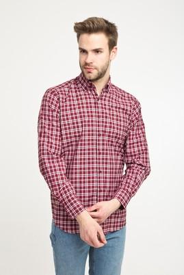 Erkek Giyim - KOYU BORDO L Beden Uzun Kol Regular Fit Ekose Spor Gömlek
