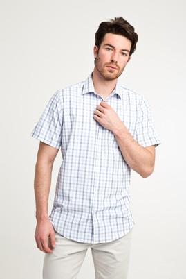 Erkek Giyim - UÇUK MAVİ 3X Beden Kısa Kol Ekose Klasik Gömlek