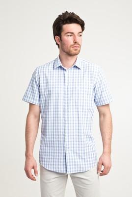 Erkek Giyim - AÇIK MAVİ L Beden Kısa Kol Ekose Klasik Gömlek
