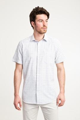Erkek Giyim - SİYAH XL Beden Kısa Kol Desenli Klasik Gömlek