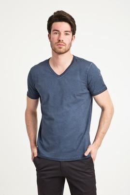Erkek Giyim - MAVİ L Beden V Yaka Düz Slim Fit Tişört
