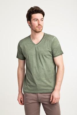 Erkek Giyim - HAKİ S Beden V Yaka Düz Slim Fit Tişört
