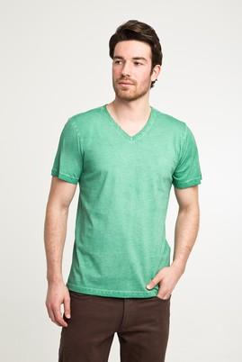 Erkek Giyim - ACIK YESIL 3X Beden V Yaka Düz Slim Fit Tişört